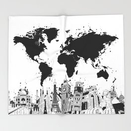 world map city skyline 4 Throw Blanket