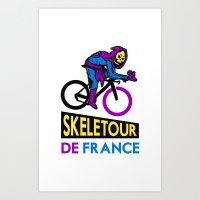 tour de france Art Prints featuring Skeletor Tour De France by Tabner's