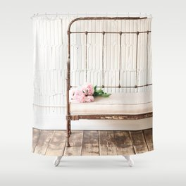 Farmhouse Antique Bench With Peonies Photograph Shower Curtain