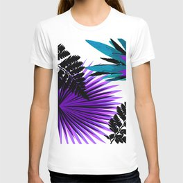 PALM AND FERN PURPLE BLACK AND WHITE TROPICAL PATTERN T-shirt