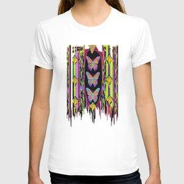 Butterfly Garden Western Style Black Fringed Shawl T-shirt