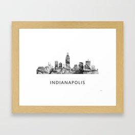 Indianapolis Indiana  Skyline WB BW Framed Art Print