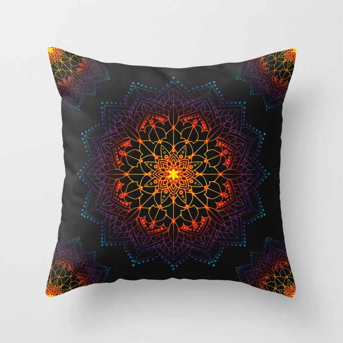 Glowing Shamballa Bohemian Mandala Black Blue Purple Orange Yellow Throw Pillow