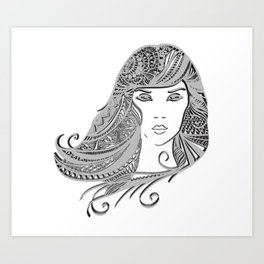 zentangle portrait 4 Art Print