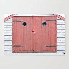 Red Port Hole Door Canvas Print