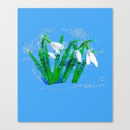 Digital Watercolor snowdrops Canvas Print