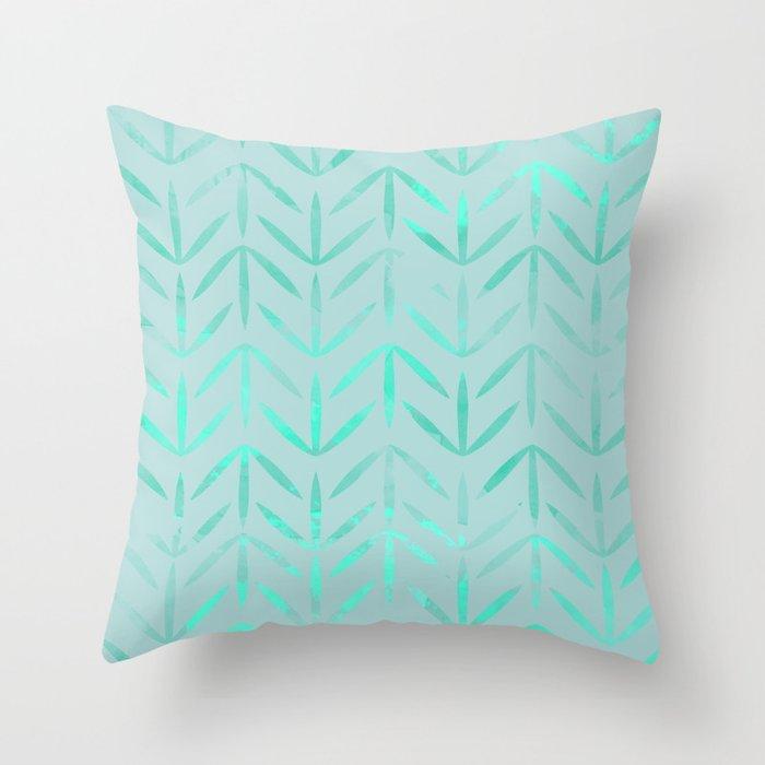 aqua neon blue color Throw Pillow
