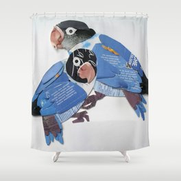 blue masked lovebird Shower Curtain