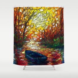 Impression Sunset with a Boat Shower Curtain