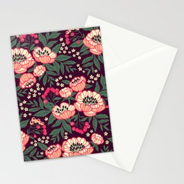 11 Floral pattern with peonies.Bright pink flowers. Dark violet background. Stationery Cards