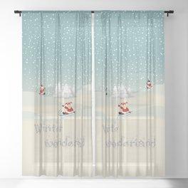 White Christmas - Kids Winter Wonderland Sheer Curtain