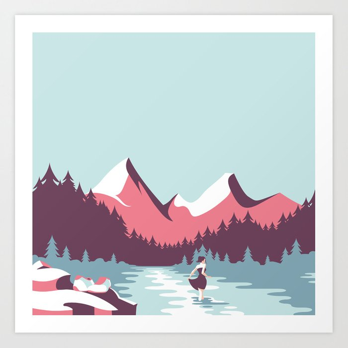 The girl by the lake Art Print