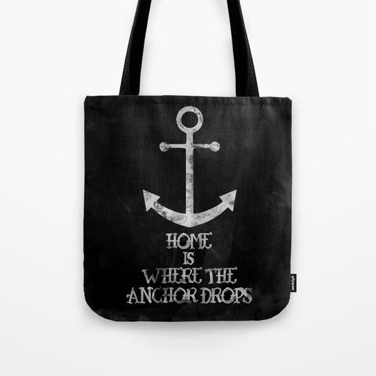 Where The Anchor Drops (Black) Tote Bag