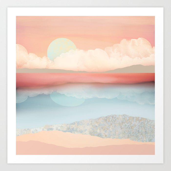 Mint Moon Beach Kunstdrucke