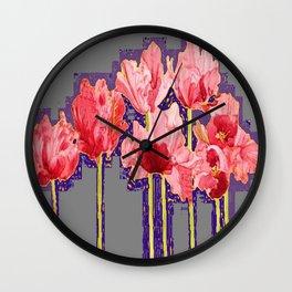 PINK-RED MODERN TULIP FLOWERS GREY ART Wall Clock