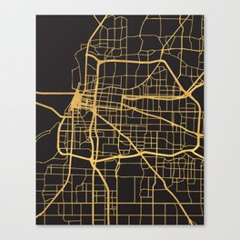 MEMPHIS TENNESSEE GOLD ON BLACK CITY MAP Canvas Print
