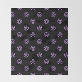 Purple Pentacle Pattern on Black Throw Blanket