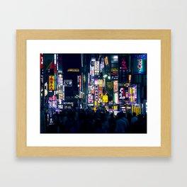 Neon Signs in Tokyo, Japan / Night City Series Framed Art Print