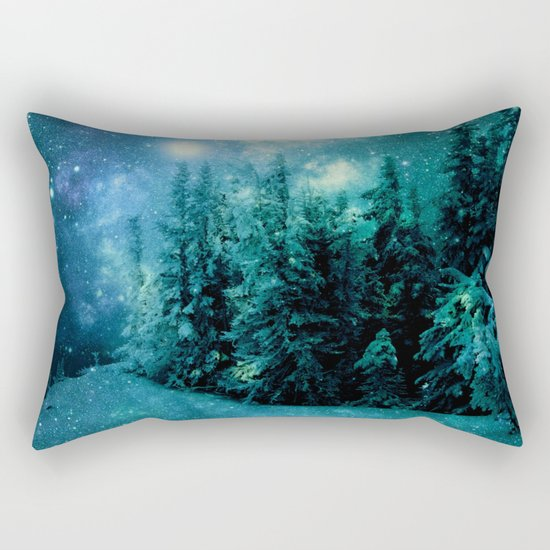 Galaxy Winter Forest Blue Teal Rectangular Pillow