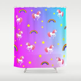 rainbows and unicorns pattern Shower Curtain
