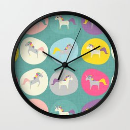 Cute Unicorn polka dots teal pastel colors and linen texture #homedecor #apparel #stationary #kids Wall Clock