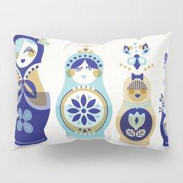 Russian Nesting Dolls – Blue & Gold Pillow Sham