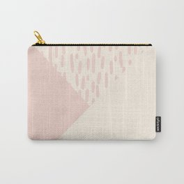 Modern geometrical ivory pink color block paint brushstrokes Carry-All Pouch