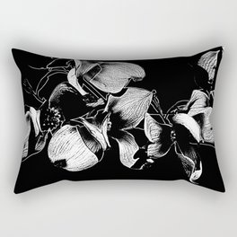 Dogwood Tree Flowers (black background) Rectangular Pillow