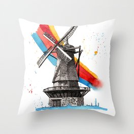 The Windmill and the Rainbow Throw Pillow