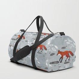 Little Mountain Foxes Grey Duffle Bag