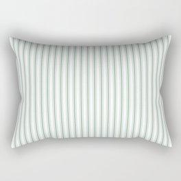 Mattress Ticking Narrow Striped Pattern in Moss Green and White Rectangular Pillow