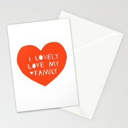 Lovely Love My Family in Red Stationery Cards