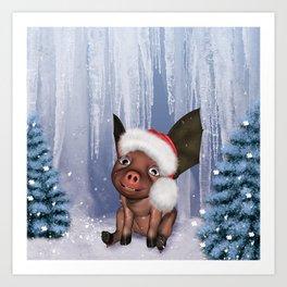 Christmas, cute little piglet Art Print