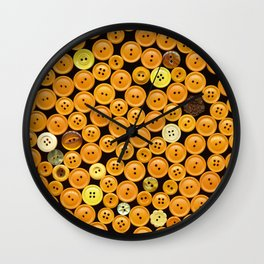 Yellow Buttons Scanograph Wall Clock