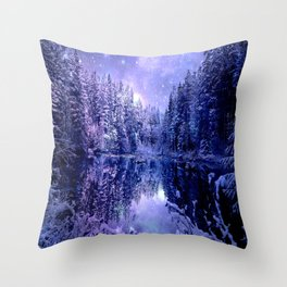 Lavender Winter Wonderland : A Cold Winter's Night Throw Pillow