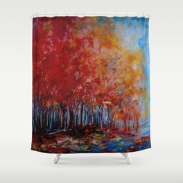 Red Fall Forest Panorama Shower Curtain