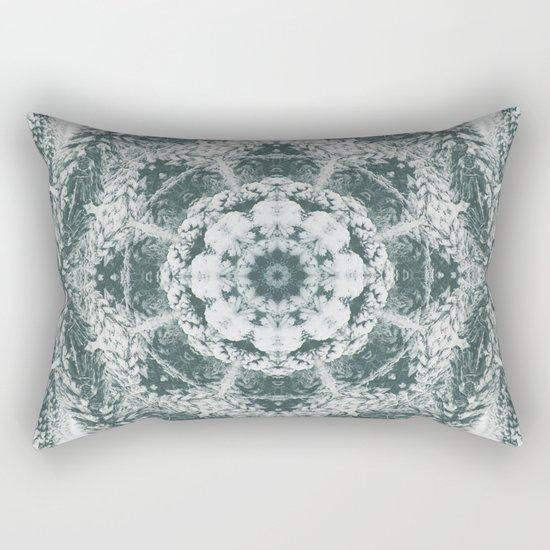 Winter snowy spruce forest mandala Rectangular Pillow