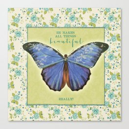 Fly By Faith Butterfly by Terri Conrad Designs Canvas Print