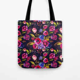 Bright Pink, Purple and Lavender Floral Arrangement with Feathers on Black Tote Bag