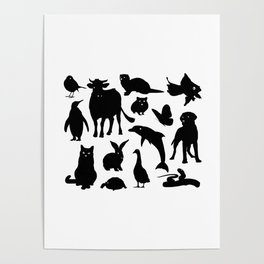 ANIMALS PATTERN Black Silhouette Pet Animal Cool Style Poster