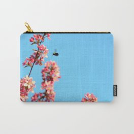 Pink flowers With Bee Carry-All Pouch
