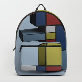 Composition with Red Blue and Yellow Backpack