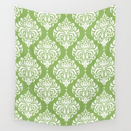 Green Damask Wall Tapestry