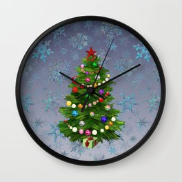 Christmas tree & snow v.2 Wall Clock