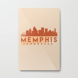 MEMPHIS TENNESSEE CITY MAP SKYLINE EARTH TONES Metal Print