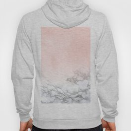 Blush Pink on White and Gray Marble III Hoody