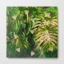 Leaf & gold Metal Print