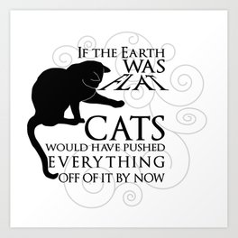 Cats on the Flat Earth Art Print