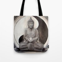 ying yang Tote Bags featuring YING YANG  by Ivine Design ArtWork Of Lynda Zaleski