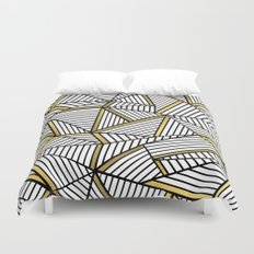 Ab Lines 2 White Gold Duvet Cover